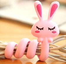 FD2397 Cartoon Earphone Headphone Cable Cord Organize Wrap Wind ~Rabbit~ 1pc ♫