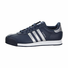 Adidas Samoa Mens B38953 Navy Silver Athletic Leather Shoes Sneakers Size 10.5
