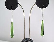 Stunning Long Olive Green Glass & Silver Drop Earrings