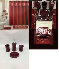 22Pc Bath Accessories ceramic Set Beverly Burgundy bathroom rugs shower curtain