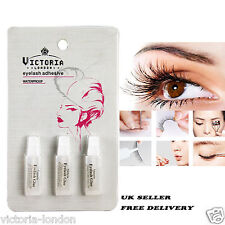Victoria 3 X TUBI Pack False Eyelash Glue colla false Eye Lashes chiaro e forte