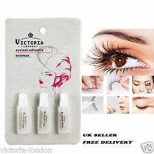 Victoria 3 x Tubes Pack False Eyelash Glue Adhesive Fake Eye Lashes Clear Strong