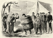 Military Punishment for Drunkenness - Soldier Wears a Wooden Barrel 1862 Print