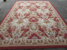 Old hand made french design laine rose rouge original aubusson 366X272cm 12x9