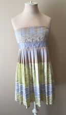 BCBGirls Yellow Gray Strapless Empire Waist Mini Dress Size S