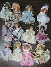 Miniature porcelain dolls. 4.5 inch. Lot of 12 dolls. Regency. Vintage Look.
