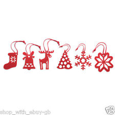 6 Red Felt Christmas Tree Hangers Decorations Reindeer Xmas Stocking Snowflake