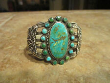 Early 1900's Fred Harvey NAVAJO INDIAN HANDMADE Silver Turquoise DESIGN Bracelet