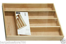 5 Compartment Cutlery Tray Rack Tidy Birchwood Kitchen Drawer Knife Fork Wooden
