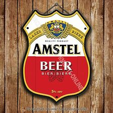 Amstel Lager Beer Classic Advertising Bar Old Pub Pump Badge Shield Steel Sign