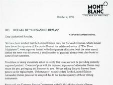 RARE MONTBLANC 1996 LIMITED EDITION ALEXANDER DUMAS - COPY OF RECALL LETTER!!
