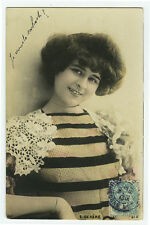 c 1908 French Theater Beauty ELISE DE VERE music hall tinted photo postcard