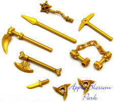 NEW Lego Ninjago Ninja GOLD WEAPON SET Castle Minifig Nunchuck Shuriken Bone Axe
