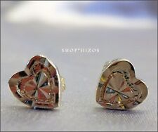 GOLD MINI 7MM 3D HEART STUD EARRINGS NEW