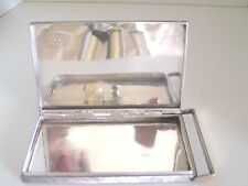 Vintage Antique Cigarette Case Sterling Silver 3 Oz - Card Holder 14K Gold Italy