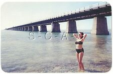 Original 1940s-60s Semi Nude Pinup Chrome PC- Bikini- 7 Mile Bridge- Key West FL