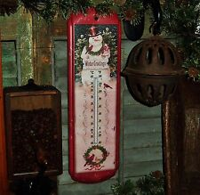 Primitive Antique Vtg Style Frosty Retro Christmas Snowman Tin Thermometer Sign
