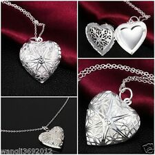 Vintage Charm Silver Love Heart Valentine Lover Locket Chain Necklace Pendant