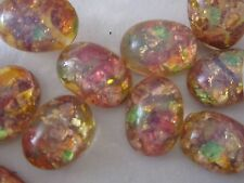 24 VTG FIRE OPAL 8x6mm JAPAN GLASS CAB FLAT-BACK LOT STONE JEWELRY REPAIR CRAFTS