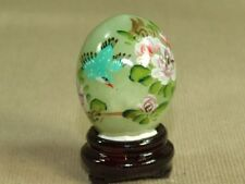 Vintage Genuine Green Chinese Jade Egg Hand Painted Flowers Bird on Wood Stand