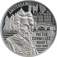 1997 Netherlands Large Proof Silver 50 Euro Pieter  C Hooft