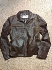Vtg Vera Pelle Distressed Brown Leather Vintage Retro Bomber Biker Jacket Coat