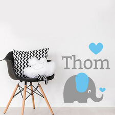 Custom Baby Name Elephant Nursery Room Little Boy Sticker Decal Decor
