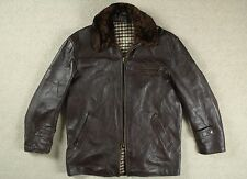 VTG 50s FRENCH HORSEHIDE LEATHER BARNSTORMER JACKET MOTORCYCLE COAT SHORT 42