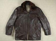 Vintage 50s cuero cuero de caballo francés chaqueta de abrigo corto de motociclista de piloto de exhibición 42