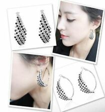 Fashion Elegant Attractive White Black Rhinestone Lady's Hoop Dangle Earrings GR