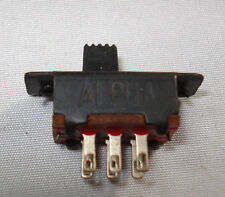 ALPHA Miniature Slide Switch, DPDT, Detent, Panel Mount, .5 amp.   FREE SHIPPING