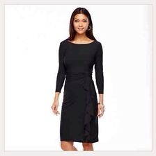 Chaps Solid Black Shirred Long Sleeve Dress - Women's Plus Size Clothes 24W/24