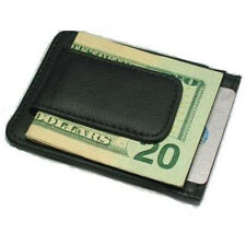 Black Genuine Leather Cowhide Magnetic Plain/Card/Wallet Money Clip Plain Style