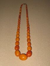 Bernstein Oliven Kette antik butterscotch baltic amber necklace beads 32,6 gramm
