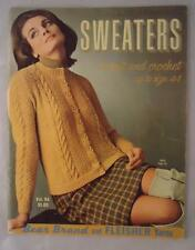 Vtg 1960s Knit Crochet Sweaters Patterns Cardigan Bear Brand Up to Size 44 Book