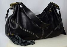 FRANCESCO BIASIA 'Desire' Black Leather Tassel Hobo Shoulder Bag