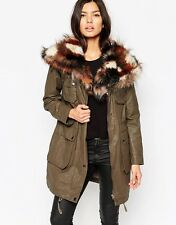 Urbancode Parka Jacket With Patchwork Faux Fur Collar Size 10