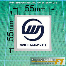 Williams F1 fan Race Car Sticker Decal 55x55mm x2 blue on clear