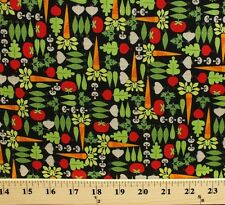 Mini Morsels Vegetables on Black Cotton Fabric Print by the Yard D772.29