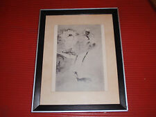 ANTIQUE/VINTAGE BLACK AND WHITE ASIAN PRINT BIRD ON WATER SWAN/DUCK 9 3/5 X 12
