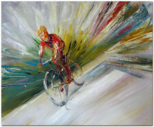 Cycling Race Oil Painting - Hand Painted Abstract Bicycle Rider Bike Fine Art