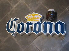 "Vintage CORONA BEER 8"" Mug Chalkware Bank ~ Cool Back Bar Display Sign LOT"