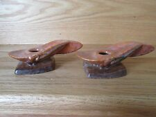 VINTAGE ROSEVILLE ART POTTERY WINCRAFT PAIR CANDLE HOLDERS # 252
