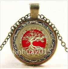 NEW Vintage Celtic Gold/Red Tree Of Life Glass Cabochon Bronze Chain Necklace/