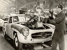 1958 Mercedes SL190German assembly line engine installation  8 x 10  Photograph