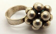 MODERNIST STERLING SILVER BEAD RING BY E. GRANIT & CO. OF FINLAND ~SIZE 5 1/4~