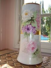 BEAUTIFUL LARGE ANTIQUE LIMOGES  B&Co HAND PAINTED VASE, MUMS & GOLD RIBBON,15""