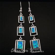 Rectangle Shape Ocean Blue Fire Opal Inlay Silver Jewelry Dangle Drop Earrings