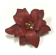Vtg MOD 60's Red Lucite & Crystal Beaded Center Lily Flower Brooch Pin Lot cc72e