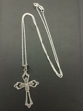 Vintage 925 Sterling And Marcasite Cross Pendant Signed MD
